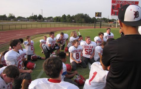 Eighth grade wins first football game