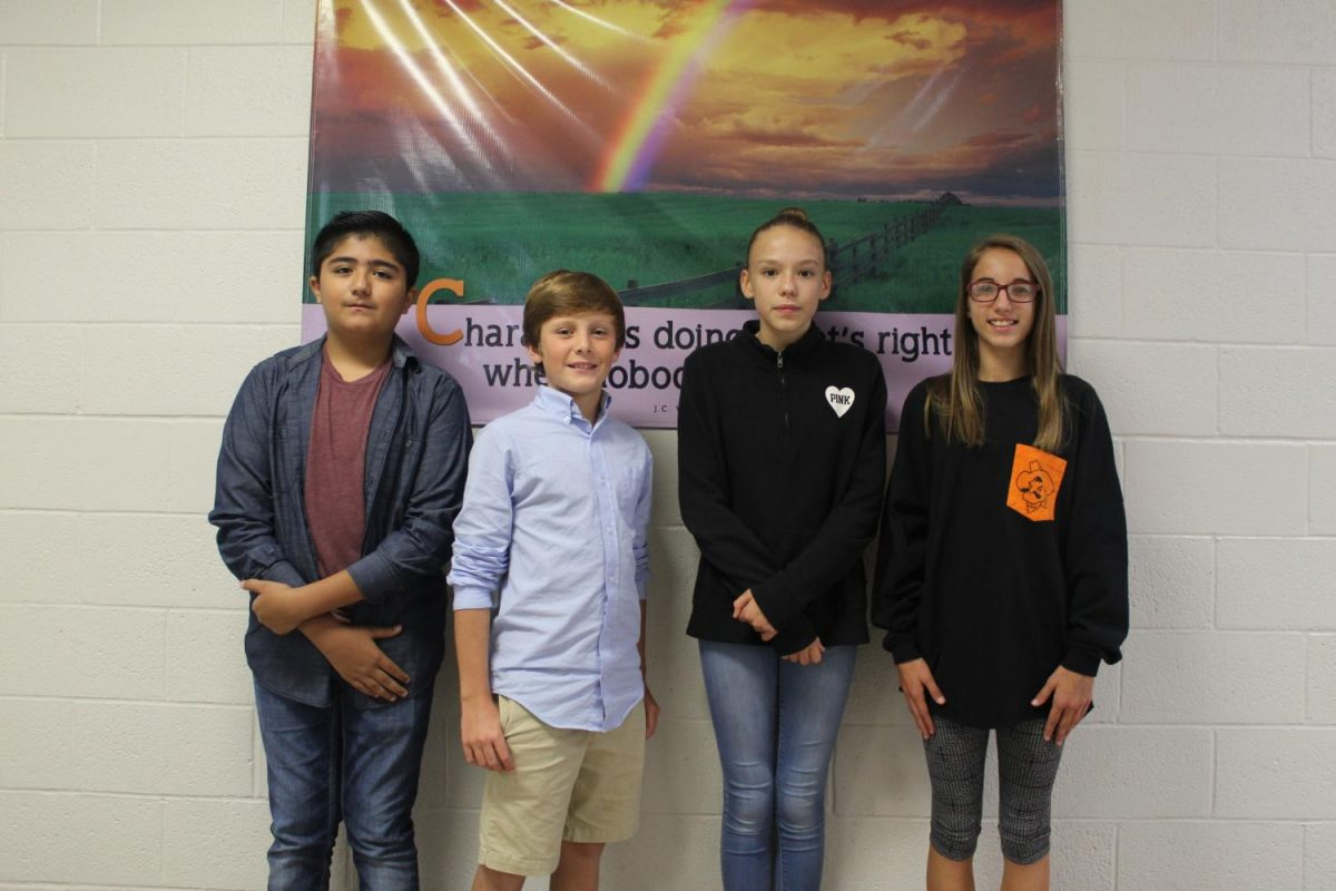 National Junior Honor Society elected officers today. The new officers include treasurer Jose Avila, president Tag Ensey, secretary Jaycie Meadows and reporter Gena Parker. Vice President Collum Stevens is not pictured.