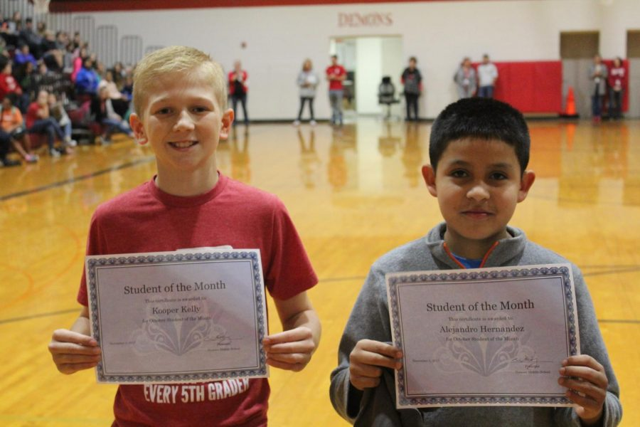 Kooper Kelly and Alex Hernandez were a few of the students recognized as students of the month for October.