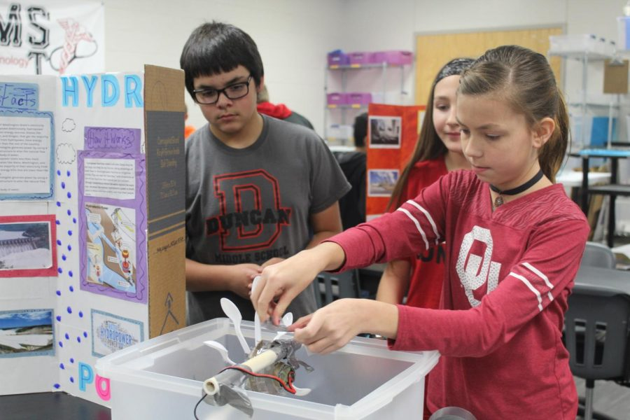 Duncan Middle School sixth-graders work on a project in their STEM class.