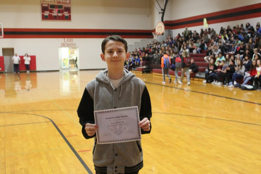 Jesse Harrison was the first eighth-graded recognized as November student of the month.