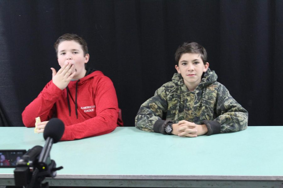 Brevin Hampton and Bennett Jensen film this weeks introduction during the Broadcast Club meeting.