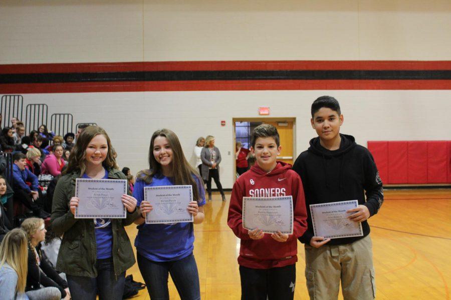 Sarah Poage, Adelina Pizana, Korbin Hammack and Jesus Ramirez were the eighth-grade students of the month for December.