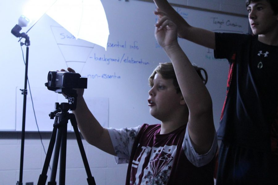 Ayden Heidler and Bennett Jensen count the Broadcast Club team in on the latest shoot.