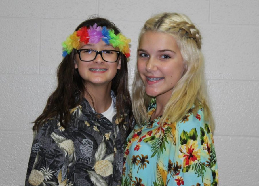 Jentry Seeberger and Kenzie Beck dress up for Hawaiian Day.