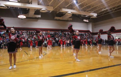 Cheerleaders lead first pep rally of the year