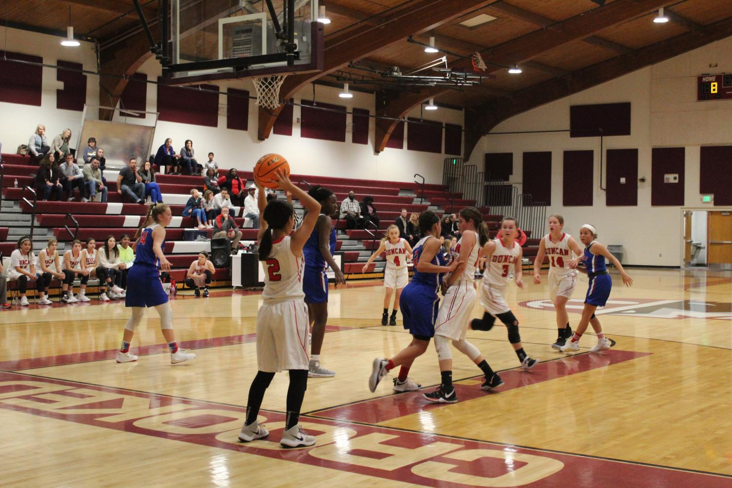 Eighth-grade Girls Basketball runs an inbound play