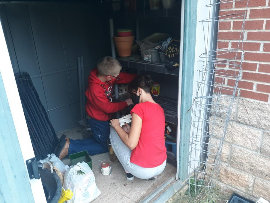 Green Club members work in the garden shed to improve the school garden.