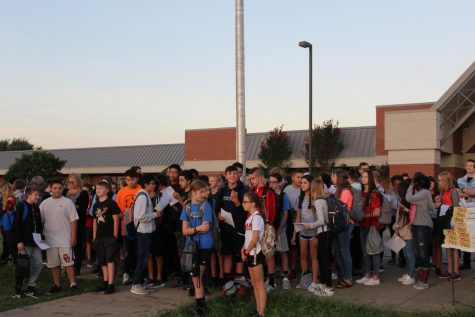 Duncan Middle School students gather for the 2019 See You at the Pole event at Duncan Middle School.