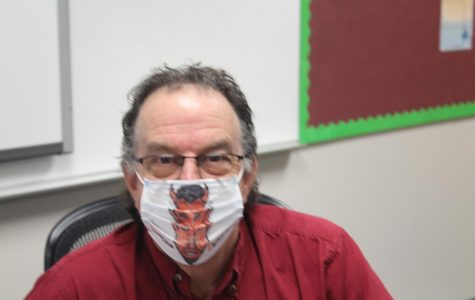 David Ellis shows off one of his mask creations. Since students returned to Duncan Middle School, they have been required to wear masks while in the building.