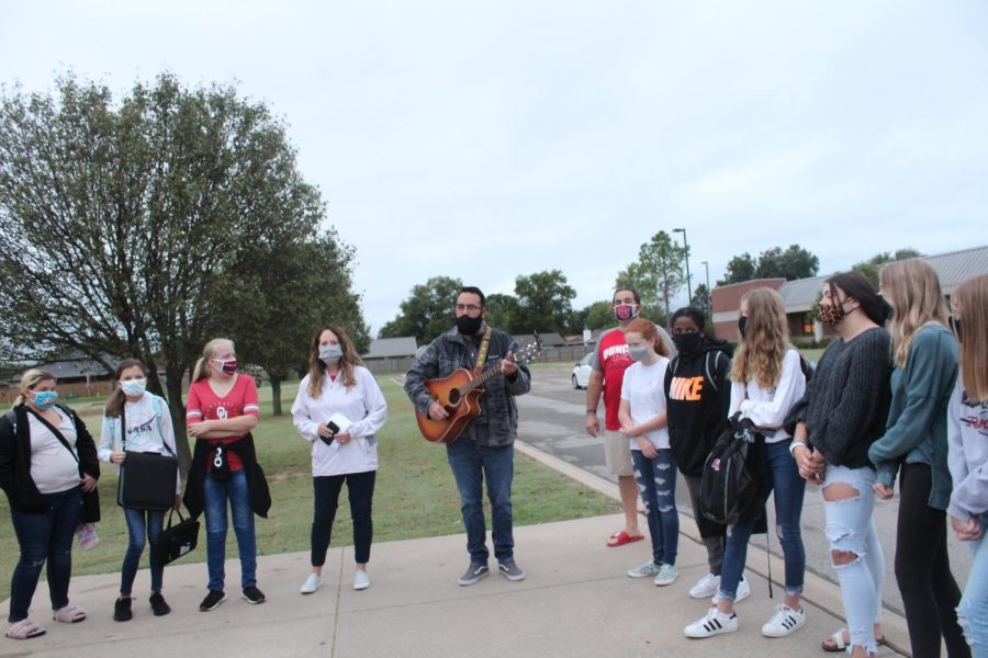 Students gather at the flag pole for See You at the Pole.