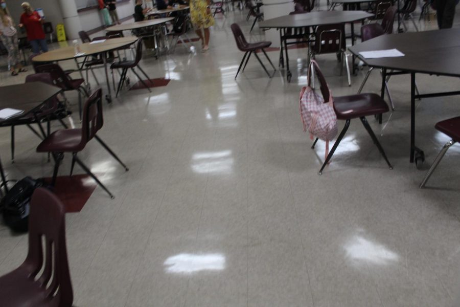 The cafeteria stands mostly empty at the end of breakfast on the first day of school. Free breakfasts and lunches are being provided through December.