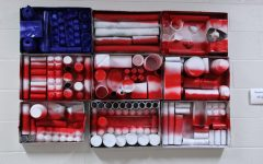 8th grade creates flag out of recycled materials