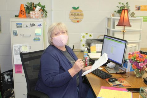 Joni Blackburn is ready for parent/teacher conferences, which continue tonight from 3:30 to 7 p.m.