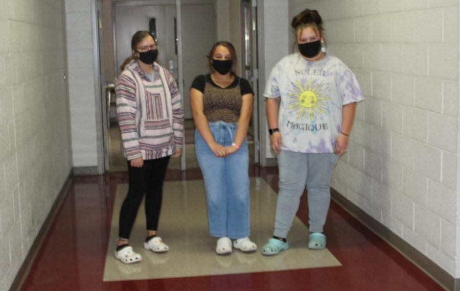 Duncan Middle School students show off their Crocs for National Croc Day.