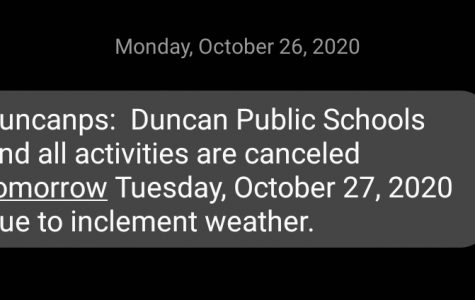 Duncan Public Schools announced the cancellation of classes on Tuesday.