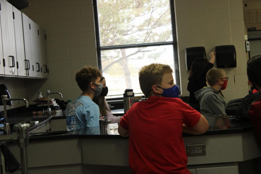 Seventh-grade students participate in Education Station on Friday.