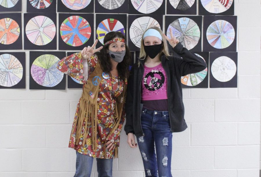 Shelly Farrar and Riley Miller dress in their hippie best for Red Ribbon Week.