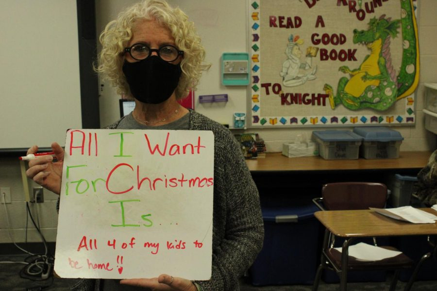 Brenda Hurley, eighth-grade English teacher, is family-oriented this Christmas.