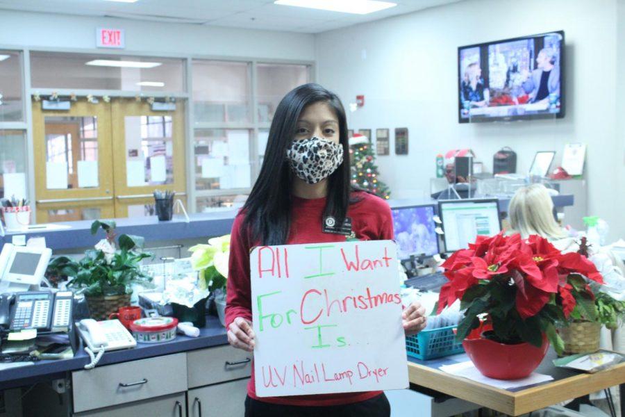 Attendance clerk Gigi Villarreal wants something practical for Christmas.