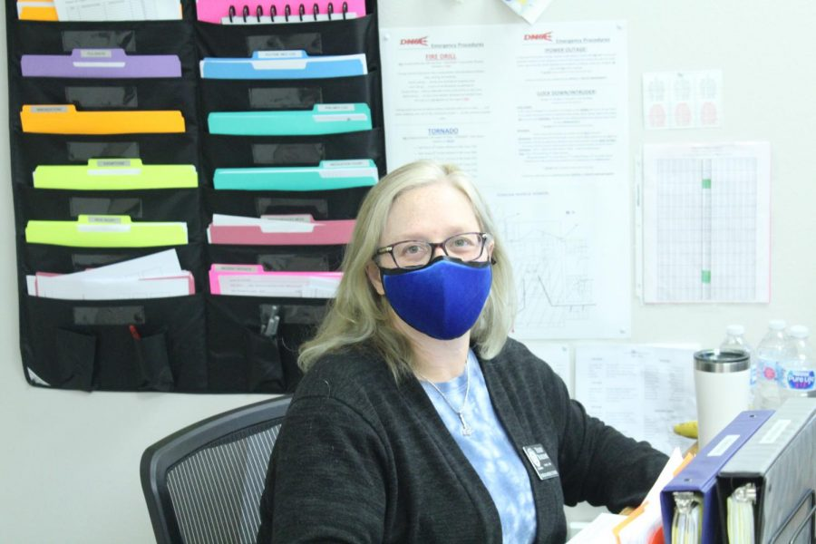 DMS nurse Terry Burdine poses for a photo this morning.