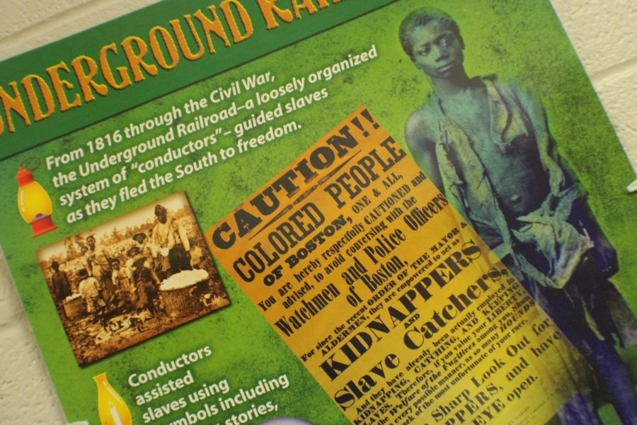 A poster in the Duncan Middle School hallway highlights the Underground Railroad.