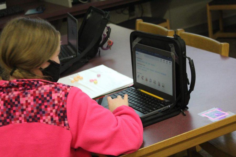 Student on chromebook