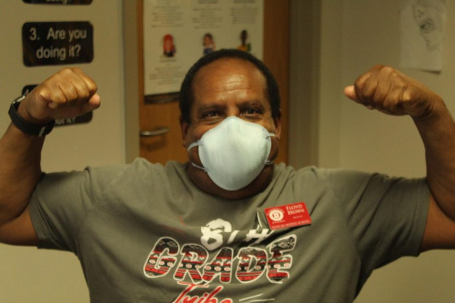 Floyd Brown poses for a photo after getting his second COVID-19 shot