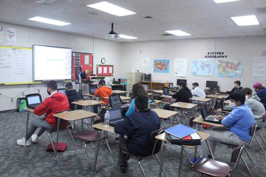 Jill Bates' second hour class take their benchmark test on Friday.