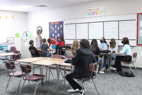 """Amara Smith plays """"Jeopardy"""" with her class in preparation for state testing."""