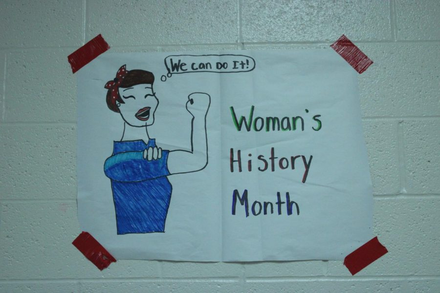 A poster created by journalism WIN students alert students and teachers about Women's History Month.